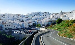 White Villages of Spain. Road winding to the white villages also known as Los Pueblos Blancos, in Spain, Andalusia Royalty Free Stock Images