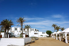 The white villas, palms and blue greece sky. Stock Photos