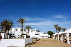 The white villas, palms and blue greece sky. Stock Photos