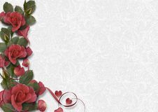 White vintage background with a border of beautiful roses. greet. White vintage background with roses with place for photo and text for congratulations and Stock Photos