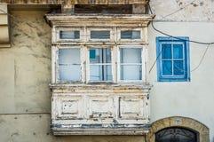 White vintage balcony in Valletta Stock Photos