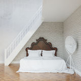 White Vintage Bedroom With Stairs To Second Floor Stock Photos