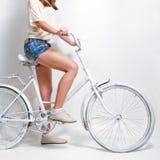 White vintage bicycle Stock Photo