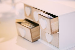 White Vintage Decorative Wooden Box for Visiting Cards Stock Photo