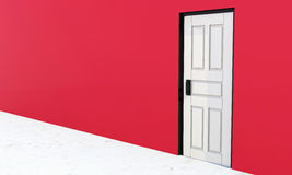 White vintage door in a red wall Stock Photo