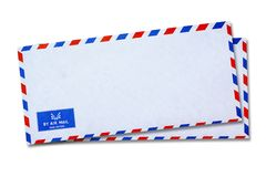 White Vintage Envelope Stock Photography