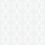 White vintage geometric texture in art deco style. For Christmas and holiday decor or wedding invitation background. Seamless vector pattern for winter fashion Stock Illustration