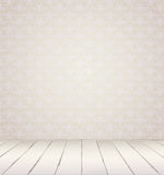 White vintage interior. White Interior of vintage room from gray grunge wallpaper wall and old wooden floor royalty free illustration