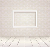 White vintage interior with frame. White Interior of vintage room  from gray grunge wallpaper wall and old wooden floor Stock Photos