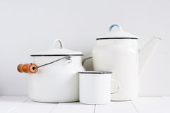 White vintage kitchenware Stock Photo