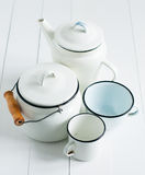 White vintage kitchenware Stock Images