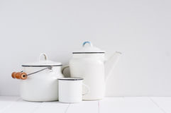 White vintage kitchenware Royalty Free Stock Photography