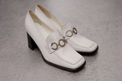 White vintage leather  shoes Stock Photo