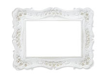 White vintage photo frame isolated on white. White vintage photo frame isolated on white background, save clipping path royalty free stock photo