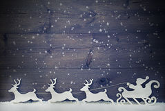 White Vintage Santa Claus Sled, Reindeer, Snow, Copy Space, Star Royalty Free Stock Images