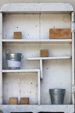 White vintage shelf. With retro stuff Royalty Free Stock Photography