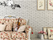 White vintage style living room with decoration Royalty Free Stock Photo