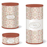 White Vintage Tincan set. Stylish retro pack container collection Royalty Free Stock Images