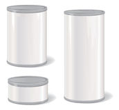 White Vintage Tincan set. Stylish retro pack container collection Royalty Free Stock Photos