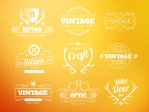 White vintage vector hipster logos and labels set Royalty Free Stock Images