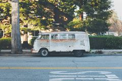 White Vintage Volkswagen Microbus Stock Photography