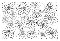 White Vintage Wallpaper with Flower Pattern Background. Thai Pattern, Illustration of Beautiful White Vintage Texture Wallpaper Background with Black Flower Royalty Free Stock Image