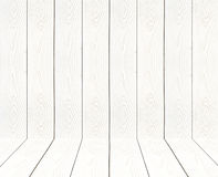 White vintage wooden wall perspective. Royalty Free Stock Photos
