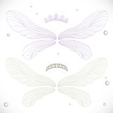 White and violet fairy wings with tiara bundled Royalty Free Stock Photography