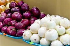 White and violet onion with prices Royalty Free Stock Photo