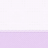 White and violet polka dot background. White and violet background with textured polka dots and a ribbon Stock Photos
