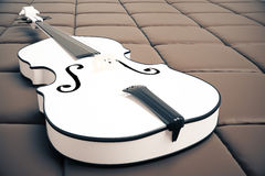 White violin on brown background. Close up of white violin on brown leather background. Music concept. 3D Rendering Royalty Free Stock Photos