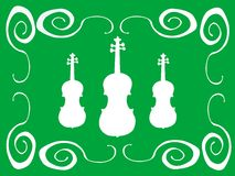 White violins. Green background with white frame and white violin shapes Royalty Free Stock Photography