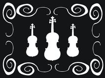 White violins. Black background with white frame and white violins Royalty Free Stock Photography