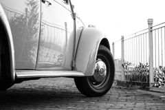 White Volkswagen Beetle Near White Metal Fence Stock Photos