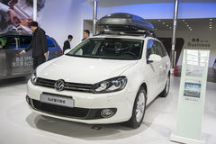 White volkswagen golf car Stock Photo