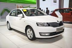 White volkswagen skoda rapid car Royalty Free Stock Photo
