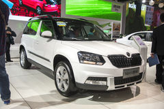 White volkswagen skoda yeti car Stock Photo