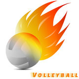White volleyball ball with red orange yellow tone of the fire in white background. volleyball logo . vector. illustration. graphic Royalty Free Stock Image
