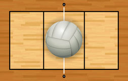 White Volleyball on Hardwood Court Illustration Royalty Free Stock Photo