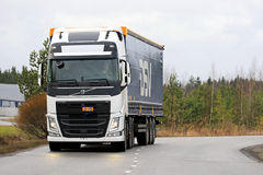 White Volvo FH Semi on the Road Stock Image
