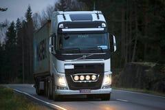 White Volvo FH Semi Trailer Late Night Trucking Stock Image