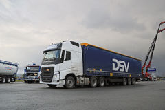 White Volvo FH 500 Semi Truck at Demo Drive Stock Image