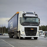 White Volvo FH Semi on a Yard Stock Photography