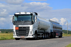 White Volvo FH Tank Truck ADR on Summer Road Stock Photo