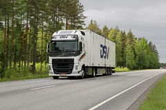 White Volvo FH Trailer Truck on the Road Royalty Free Stock Photo