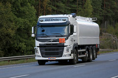 White Volvo FM Tank Truck on the Move Stock Photo