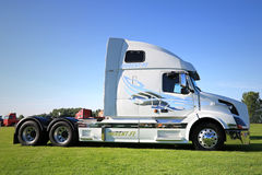 White Volvo VNL 64T 670 Truck Tractor on Display Stock Photo