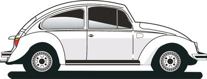 White vw beetle. Lateral view of an isolated vw beetle Stock Photos
