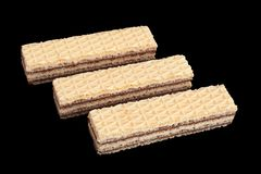 White wafer closeup. Isolated on black background royalty free stock photo