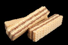 White wafer closeup. Isolated on black background stock photo